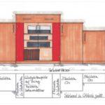 Angebotszeichnung Hifi Kommode in Wildeiche mit rot kombiniert