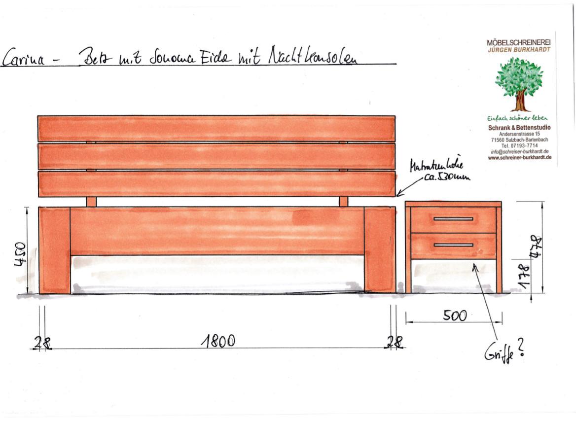 Angebotszeichnung Massivholzbett Carina