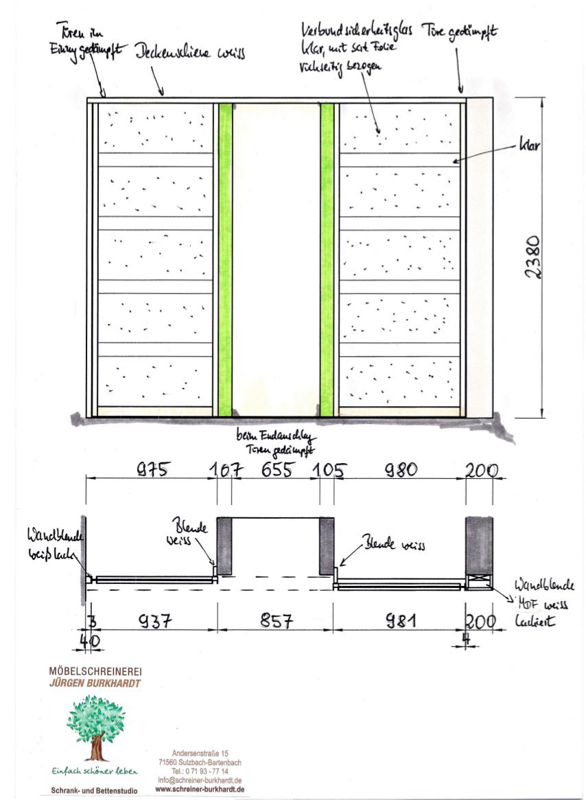 Treppenhaus technische zeichnung  Schiebetüren vor dem Treppenhaus aus der Möbelschreinerei Burkhardt