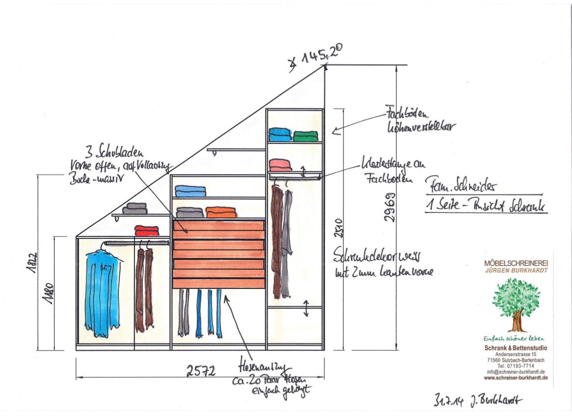 Angebotszeichung Skizze zu einem begehbaren Kleiderschrank